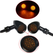 Amber Motorcycle Mesh Lens LED Turn Signal Brake Light Bullet Bobber Cafe Racer