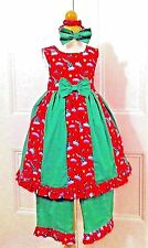 CUSTOM BOUTIQUE 4 4T 5 Christmas Party Twirly Dress Pants & Bow 3 pc set lot NEW