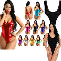 Women's Leather High Cut Backless See-through Leotard Bodysuit Jumpsuit Babydoll