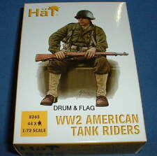 HAT 8265. WW2 AMERICAN TANK RIDERS 1/72 SCALE. 44 UNPAINTED PLASTIC FIGURES