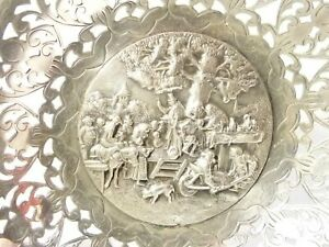Antique Silver Plated Dish Bowl with Pierced Foliage & Olde Village Scene