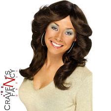 70s 80s Flick Wig Charlies Angels Farah Fawcett Brown Wig Fancy Dress Hen Party