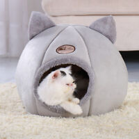 Pet Cat Cave Bed Soft Igloo Bed Winter Warm House Kennel Sleeping Nest Mat Grey