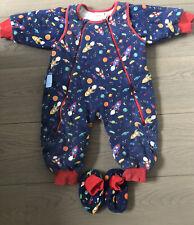Jojo Maman Bebe Sleep Snuggler Sleepsuit Rockets 6-12 Months 2.5 Tog