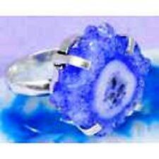 BLUE Solar Quartz & 925 Silver Handmade Designer Ring Size 8.5 G76-32523