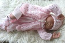 Baby girl reborn DK knitting pattern knit cardigan hat booties set in 0-3m Isa