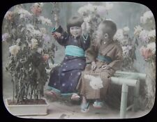 Glass Magic Lantern Slide JAPANESE CHILDREN WITH FLOWERS C1910 PHOTO JAPAN