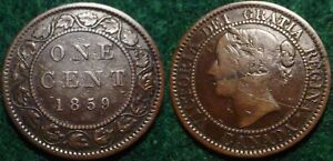 NICE GRADE 1859 LARGE CENT CANADA**NICE DETAILS**