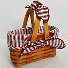 Longaberger 1998 Picture Perfect Sweetheart Basket Set~Prot~Liner~Valentines Day
