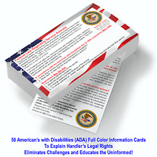 Service Dog Cards - 50 ADA Service Dog Information Cards - State Your Rights!