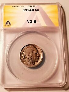 Key Date Circulated 1914-D Buffalo Nickel Graded by ANACS as a VG-8!