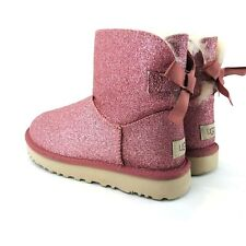 UGG Womens Size 5 Pink Mini Bailey Bow Glitter Sparkle Boot 1100053
