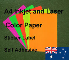 20 X A4 Inkjet and Laser Color Paper Sticker Label Self Adhesive