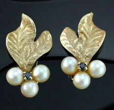 Vintage 14k Pearl Sapphire Cluster Grapes Clip Earrings Textured Leaves 1 inch