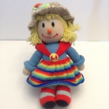 Hand Knitted Scarecrow Doll Girl Handmade 15 Inches Tall Autumn Fall Halloween