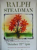 Hand Signed Poster by Ralph Steadman 'The Best Flowers are in My Head' 1999