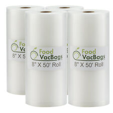 4 FoodVacBags Embossed 8x50 Rolls Vacuum Sealer Bags for FoodSaver machines 4mil