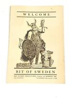 Vintage 1938 BIT OF SWEDEN restaurant MENU Hollywood California - Ephemera