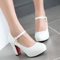 Women's Ladies Cute Mary Janes Block High Heels Round Toe Lolita Dress Shoes