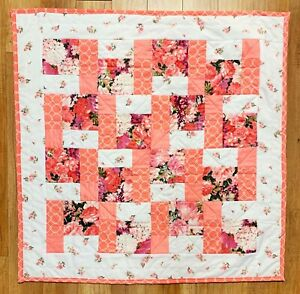 """Coral Pink Baby Girl's Quilt Handmade Patchwork Crib Floral 40"""" x 40""""  NEW"""
