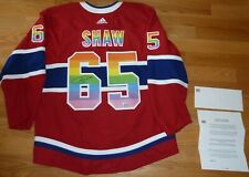 ANDREW SHAW MONTREAL CANADIENS GAME USED SIGNED PRIDE NIGHT JERSEY HABS LOA-COA