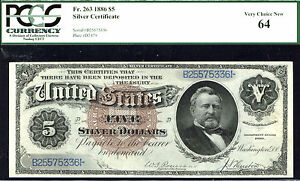 1886, $5 FR 263 Large Size Silver Silver Dollar Note PCGS 64