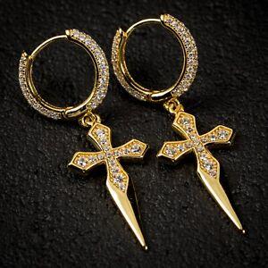 Mens 14K Gold Iced Cz Dagger Huggie Cross Drop Dangle Hanging Hoop Earrings