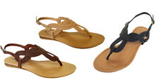 WHOLESALE LOT 24 prs Ladies' Braided Gladiator Flat Sandal T-Strap*(8016)*Mix B