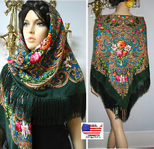 """Russian/ Slavic Floral Shawl 55""""/140cm NWT #102-4 Wool 80% Turquoise/Green"""
