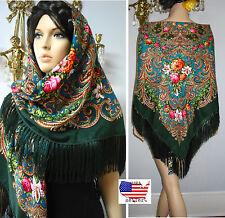 """Russian Floral Shawl 55""""/140cm Wool #102-4 """"Pavlovo Posad Style"""" NWT Gypsy"""