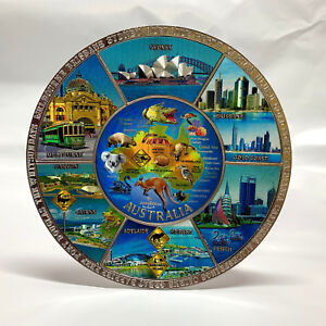 Australia Souvenir Metal Plate w Stand& Hanger Australian Map & Animal Blue