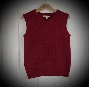 #28 Boys John Lewis Cable Knit Red Sleeveless Jumper / Tank Top Age 6 Years