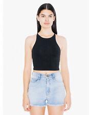 5fd433b8de0e85 American Apparel Women's Cotton Spandex Sleeveless Crop Top Black Medium