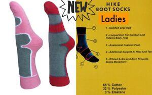 3 PAIRS LADIES HIKING SOCKS / WALKING SOCKS / BOOT SOCKS 65% COTTON