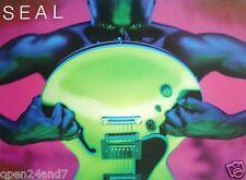 """Seal """"Human Being"""" U.S. Promo Poster - Seal Holding Guitar, 90's U.K. Soul Music"""