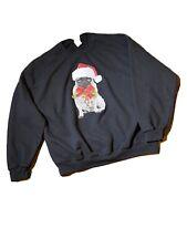 Christmas Sweatshirt Unisex Black Red Long Sleeve Pug Dog Holiday