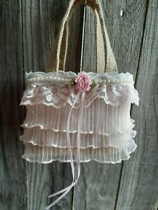 Burlap and lace flower Girl Basket, Rustic, hippie, boho, pink