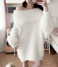 Womens Warm Korean Faux Fur Loose Knitted Sweater One Shoulder Long Sleeves Tops