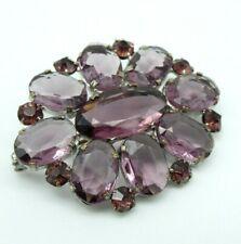 Antique Edwardian Amethyst Glass Paste Open Back Brooch Vintage Purple Lilac