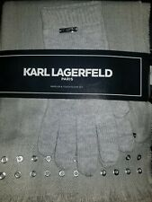 New KARL LAGERFELD Paris $58 Gray White Metal LOGO muffler & touch glove set