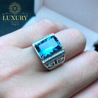 Natural Blue Topaz Real 925 Sterling Silver Atmospheric Resizable Men's Ring
