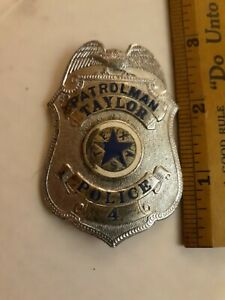OBSOLETE STERLING SILVER TAYLOR TEXAS POLICE BADGE HALLMARKED MARKED STERLING