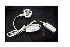 LEAD DIMMER LAMP WHITE SALT & SELENITE LAMP  UK Plug E14 Lamp Holder Inline