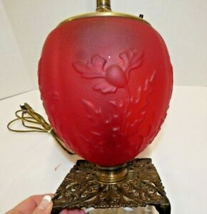 Antique Victorian Red Satin Glass Gone With the Wind PoppyTable Lamp Base