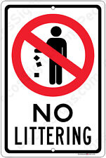 No Littering - Aluminum Sign Made in the USA and UV Protected