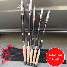 2.1M/11.8FT Portable Carbon Fiber Telescopic Fishing Rod Travel Spinning Pole AS