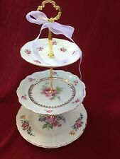 Wedding Cake Stand 3 Tier Serving Tray Antique Rose Plate