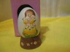 Anri Hand Carved Wooden Egg w/ Wooden Base Ferrandiz Little Girl w/ Lambs 1978