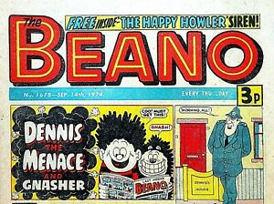 BEANO #1678 - 14th SEPTEMBER 1974- FIRST DENNIS COVER !! VERY RARE !! FINE dandy