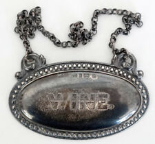 1860 STERLING SILVER Antique WINE Liquor BOTTLE TICKET Tag SHEFFIELD Hallmarks
